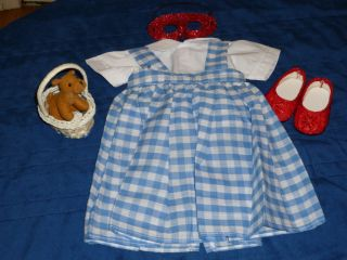 """Doll Clothes Fits 18"""" Dorothy WOZ Halloween Costume Ruby Slippers Basket Dog 5pc"""