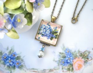 "Forget Me not Flower French Script Writing ""Vintage Charm"" Art Pendant Necklace"