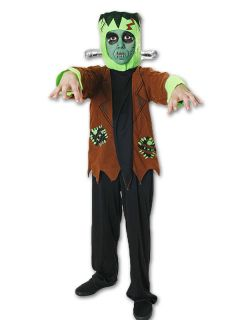 Frankenstein Kids Boys Monster Halloween Fancy Dress Child Costume Age 7 12