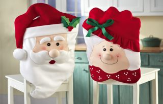 2pc Mr Mrs Santa Claus Kitchen Table Chair Covers Christmas Holiday Home Decor