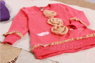 Kids Toddlers Girls Lovely Flower Long Sleeve Cotton Top Shirts Sz 2 7Years
