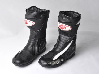 Auto Motorcycle Biker Racing Gear Leather Shoes Speed Boots US Size 7 12 Black