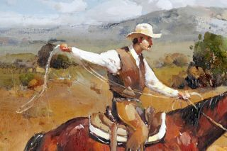Russian Signed Oil Painting of A Cowboy Roping Calf