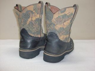 Ariat Gem Fatbaby Black Crackle Camo Leather Western Cowgirl Boots 16402 Sz 9 5