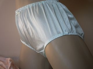 Vintage Inspired Green Silky Soft Scrunch Hem Sheer Nylon Full Panties L XL 50""