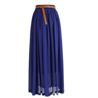Antique Womens Sexy Lady Pleated Retro Maxi Long Dress Elastic Waist Bust Skirt