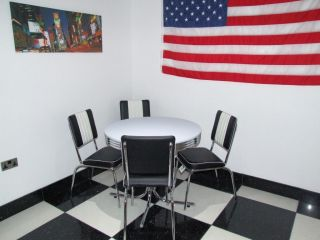 American 50s Diner Furniture 4 Black Chairs