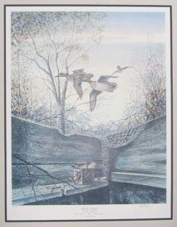 Blind Corner Ralph McDonald 1991 Ducks Unlimited Signed Framed Art Green w Teal