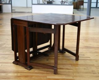 Art Deco Dining Table Gateleg Table 1930s Vintage Mahogany Drop Leaf