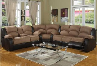 4pc Traditional Modern Sectional Recliner Fabric Sofa Bed AC CAE S1