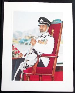 "Sultan Qaboos of Oman on Royal Chair Miltary Dress Vintage Picture 9""x11 5"" Card"