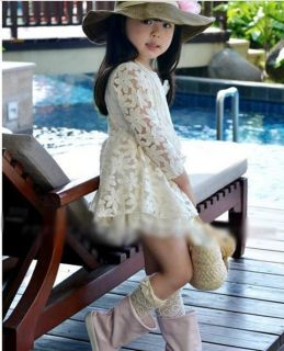 Pretty Girls Baby Toddlers Lace Flower Princess Skirt Kids Formal Dress 2 7Years