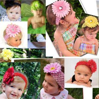 Cute Baby Girls Crochet Headband Daisy Flower Hair Clip Free Shipping Wholesale