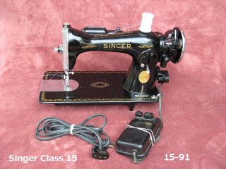 Singer Class 15 Sewing Machine 15 91 Heavy Duty Quilting Denim Leather Sews EXC