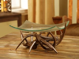 Bronze Deer Antler Elegant Decorative Centerpiece Bowl