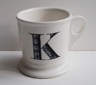 Anthropologie Monogram Shaving Mug Letter K Alphabet Coffee Cup Apothecary