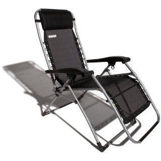 New Strathwood Black Silver Anti Gravity Adjustable Recliner Portable Comfort
