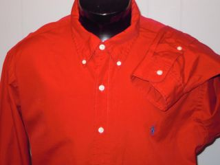 Polo Ralph Lauren Long Sleeve Custom Fit Red Button Down Shirt XXL Navy Pony
