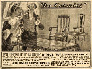 1899 Ad Colonial Furniture Chairs Grand Rapids Michigan Original Advertising