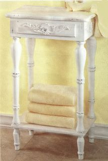 Shabby Country Chic Distressed White Side Table w Shelf