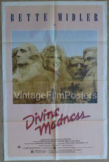Divine Madness Original 1980 Movie 1 Sheet Poster Bette Midler Documentary
