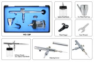 3 Airbrush Air Compressor Combo Kit Dual Action Air Brushes Precision Paint
