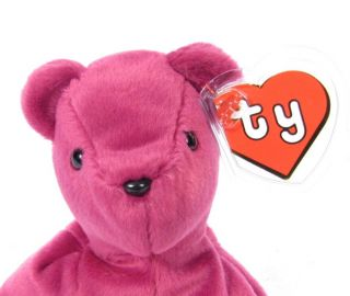 ded4c78985a ... Tag 4004 1993 Ty  Candy Spelling s Beanie Baby Old Face Magenta Teddy  Bear 1993 1st Gen Tush ...