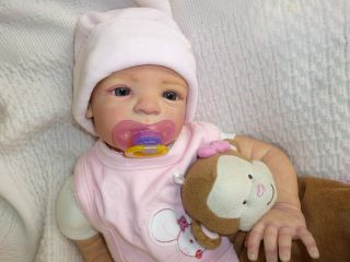 Stunning Reborn Baby Girl Doll Nele by Gudrun Legler Sad Face Glass Eyes