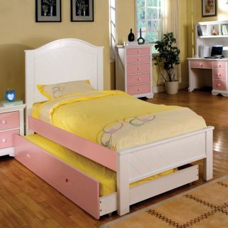 Solid Wood Aila Pink White Finish Youth Children Bed Frame w Trundle