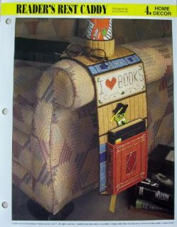 Reader's Rest Caddy Plastic Canvas Pattern Handy Armchair Helper New