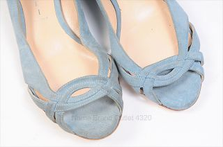 Casadei Baby Blue Suede Overlap Peep Toe Flat Shoes 6