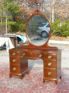 Antique Traditional Mahogany Vanity Desk with Mounted Mirror