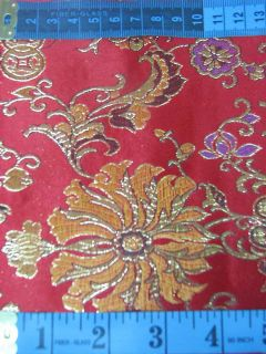 Chinese Brocade Fabric Material Gold on Red Longlive Upholstery by Yard