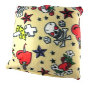 Tattoo Flash Print Fleece Throw Pillow 15 in x 15 In
