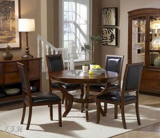 5pc Avalon Round Cherry Wood Glass Dining Table Set