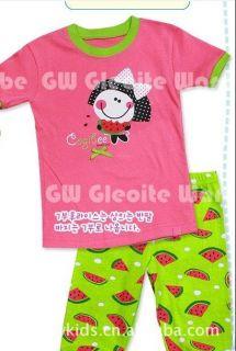"New Baby Girls Pajamas Sleepwear Kids Pajamas T Shirt Short Pants ""Watermelon"""