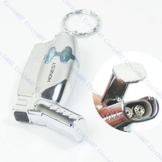 Dual Torch Flame Cigar Cigarette Lighter Keyring Chrome