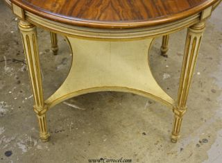 Antique Louis XVI Cream and Walnut Round Sofa End Table