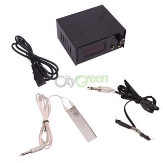 Pro Tattoo Machine LCD Digital Power Supply Foot Pedal Clip Cord 644