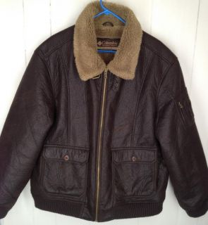 Columbia Bomber Jacket Mens Faux Leather with Faux Shearling Dark