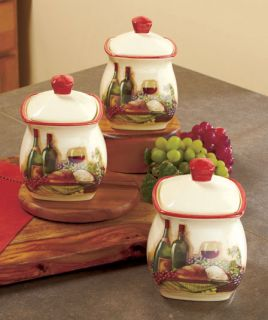 3 Vineyard Canister Jars Wine Bottle Glass Grape Tuscan Theme Kitchen Home Decor
