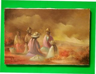 Mexican Artist Oscar Parra 1963 Signed Oil on Canvas 'Women in The Field'