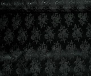 Satin Brocade Fabric Black by The Yard