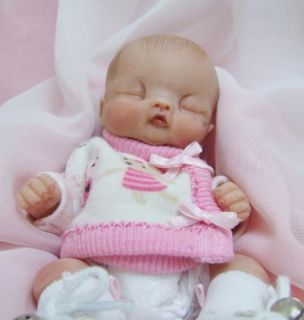 OOAK Sculpted Baby Girl Polymer Clay Art Doll Collectible Poseable Miniature