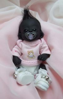 OOAK Baby Gorilla Monkey Sculpted Polymer Clay Art Doll Collectible