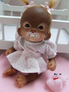OOAK Baby Orangutan Sculpted Polymer Clay Art Doll Pose Able