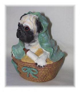 Baby Pug Puppy Figure Figurine in Basket with Bottle