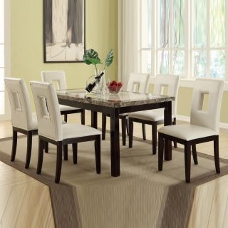Marble Look Casual 7 PC Cream Faux Bycast Leather Chair Dining Kitchen Table Set