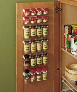 6pc Spice Storage Organizer Clip Set to Cabinet or Pantry Door Holds 24 Bottles