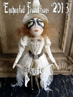 Pfatt Primitive Folk Art Winter White Magic Witch Spindle Doll Joyce Stahl Ehag